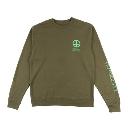 All Good Inner Peace Outdoors Crewneck Sweatshirt - Army Green