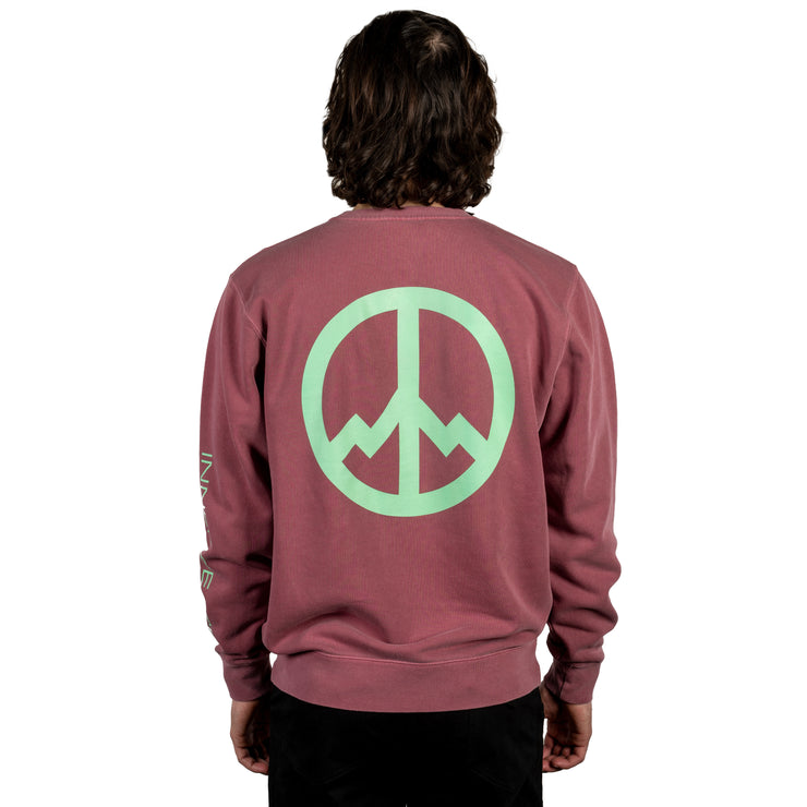 All Good Inner Peace Outdoors Crewneck Sweatshirt - Pigment Maroon