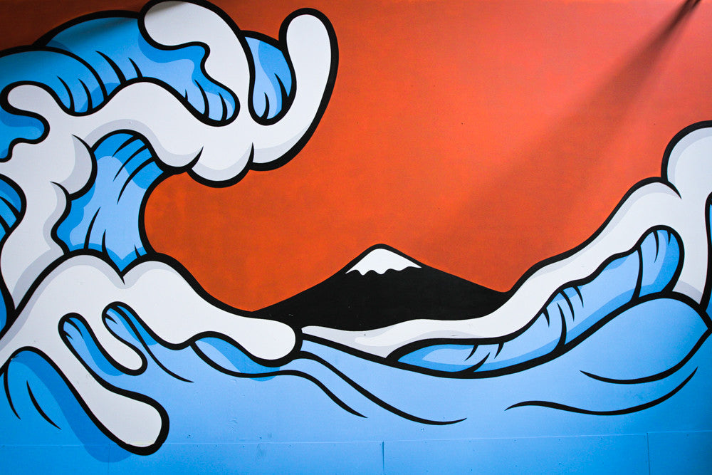 Behind Aaron Kai's Hokusai Wave-Inspired Mural at The Hundreds Homebase by Kazie Holiday