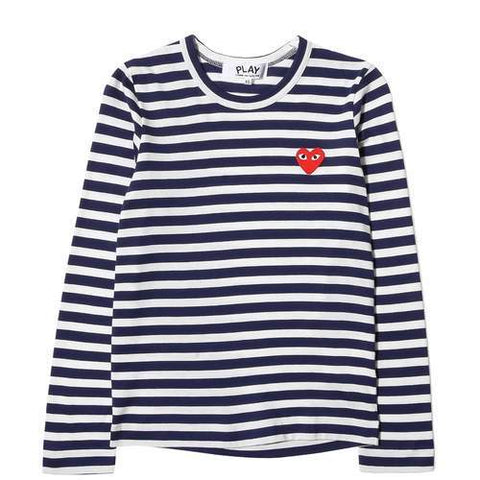 Comme des Garcons PLAY LS Striped Top Navy/White