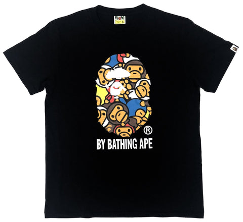 A Bathing Ape Baby Milo Multicolor Big Ape Face Black Tee