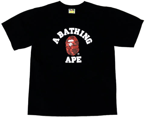 A Bathing Ape Red Camo College Logo Black Tee