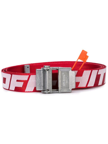 Off-White Industrial Logo Print Belt Red