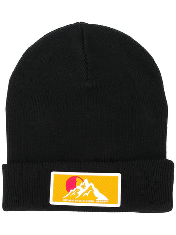 Off-White Logo Patch Ribbed Beanie Black