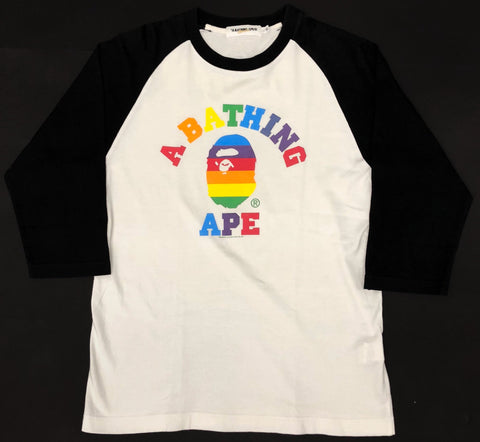 A Bathing Ape Rainbow College Logo 3/4 Sleeve