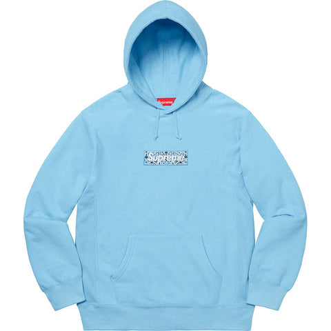 Supreme Bandana Box Logo Hooded Sweatshirt Light Blue - FW19