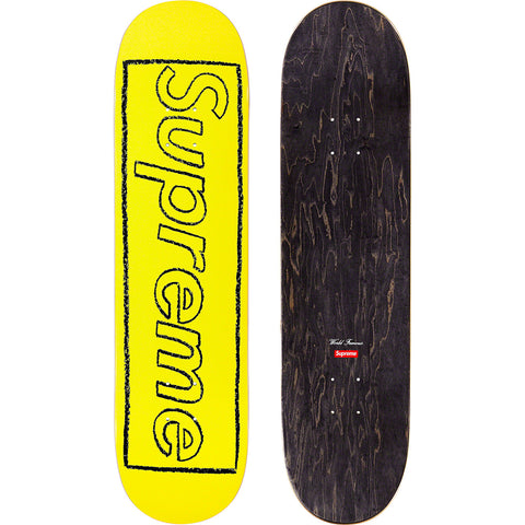 Supreme KAWS Chalk Logo Skateboard Deck Yellow