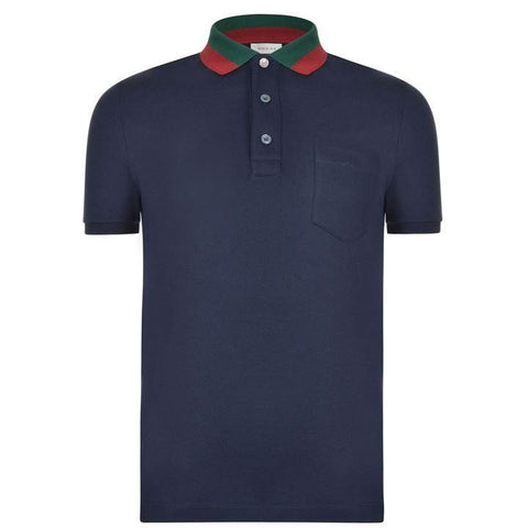 Gucci Contrast Color Polo Navy