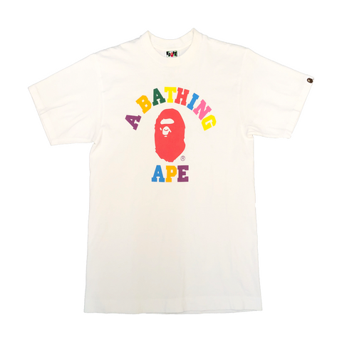 A Bathing Ape Multicolor College Tee White
