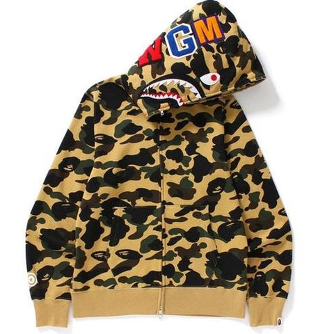 A Bathing Ape 1st Camo Shark Full Zip Yellow