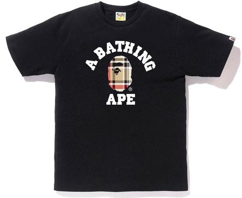 A Bathing Ape Check College Tee Black