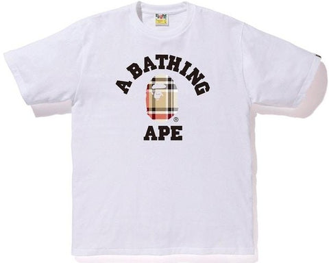 A Bathing Ape Check College Tee White