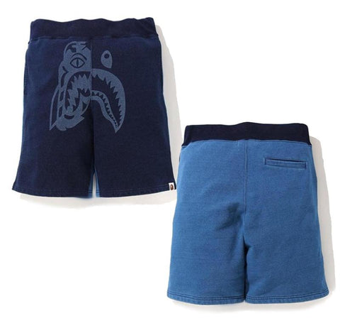 A Bathing Ape Indigo Tiger Sweat Shorts