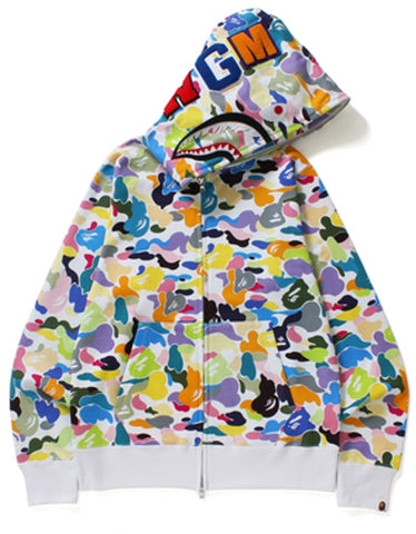 A Bathing Ape Multicolor Camo PONR Shark Full Zip White