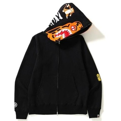 A Bathing Ape Tiger Shark Zip Up Black