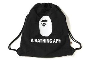 A Bathing Ape Black Drawstring Bag