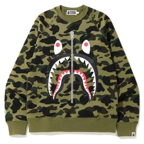 A Bathing Ape 1st Camo Shark Crewneck Green