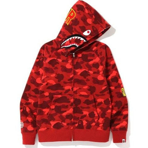 A Bathing Ape Color Camo PONR Shark Full Zip Red