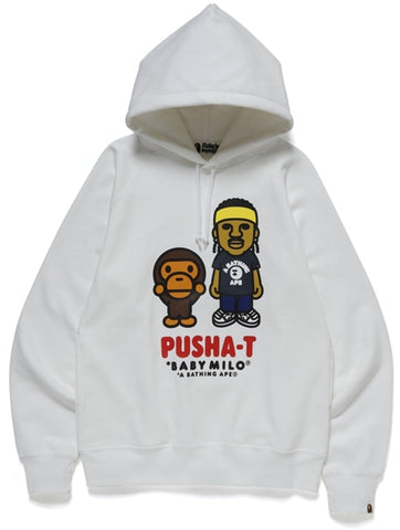 A Bathing Ape x Pusha T Baby Milo Pullover Hoodie White