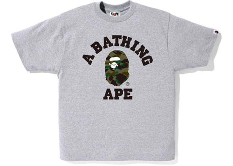 A Bathing Ape Green Camo College Logo Tee Grey