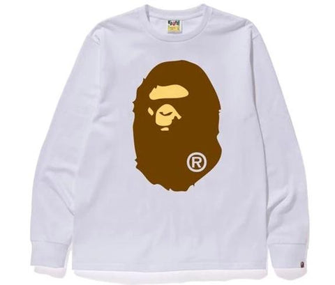 A Bathing Ape LS Big Ape Face Tee White