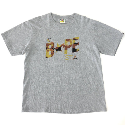 A Bathing Ape Orange Camo Bape STA Tee Grey