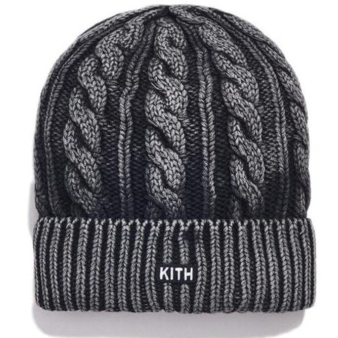 Kith Washed Cable Knit Beanie Black