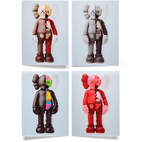 Kaws Lenticular Postcard Set of 4 COMPANION Flayed