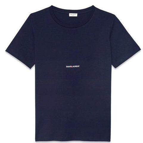 Saint Laurent Logo Tee Navy