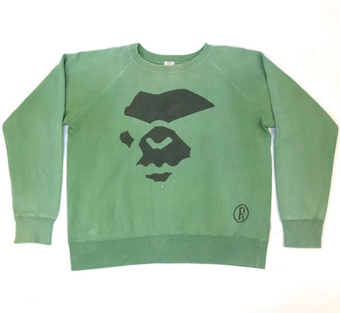 A Bathing Ape Angry Ape Face Crewneck Green