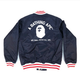 A Bathing Ape ASNKA Varsity Jacket Navy