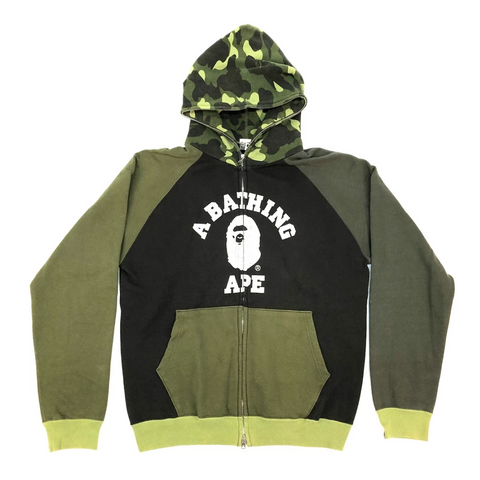 A Bathing Ape College Full Zip Sweatshirt Green
