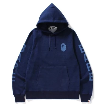A Bathing Ape Indigo Pullover Hooded Sweatshirt