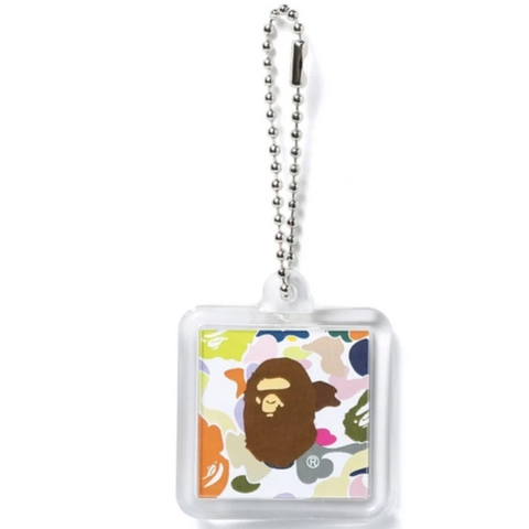 A Bathing Ape Multi Camo Keychain White