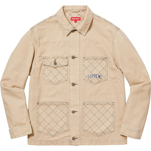 Supreme Diamond Stitch Denim Chore Coat Tan