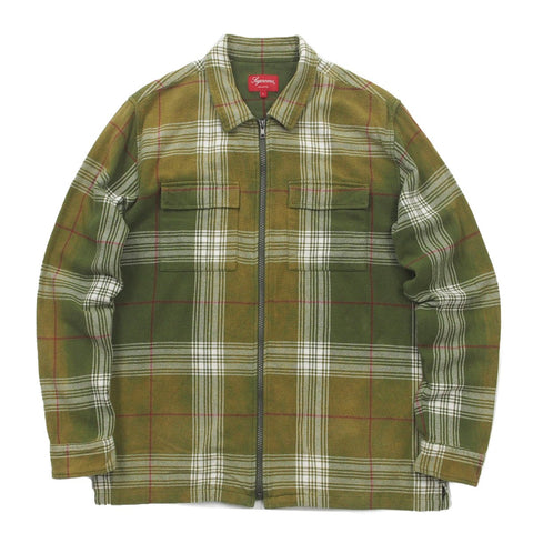 Supreme Faded Flannel Zip Up Green