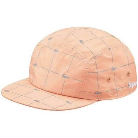 Supreme/Lacoste Peach Reflective Grid Camp Cap
