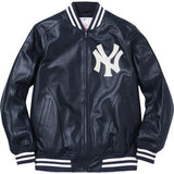 Supreme/New York Yankees/47' Brand Leather Varsity Jacket Navy