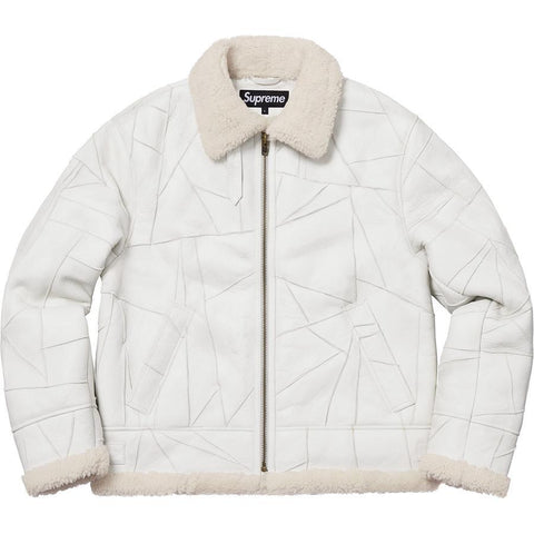 Supreme Patchwork Shearling B-3 Jacket White