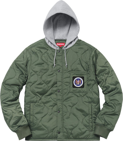 Supreme Quilted Liner Hooded Jacket Olive