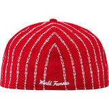Supreme Text Stripe New Era Cap Red
