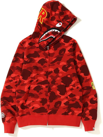 A Bathing Ape Color Camo Shark Full Zip Red