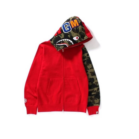 A Bathing Ape Camo Sleeve Shark Red