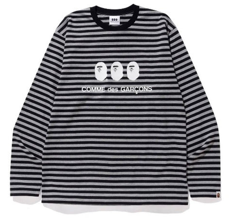A Bathing Ape x Comme des Garcons Striped LS Tee Black