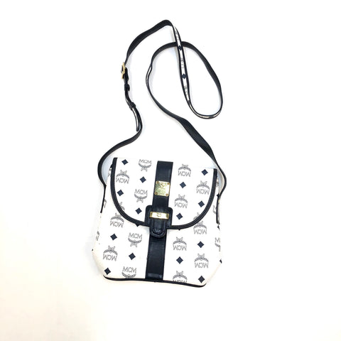 MCM Vintage 1980's Shoulder Bag White/Navy