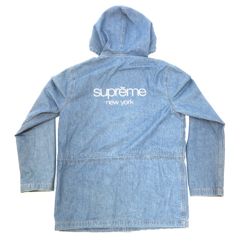 Supreme Classic Logo Hooded Denim Button Up
