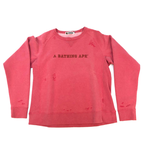 A Bathing Ape Tonal Distressed Crewneck Red