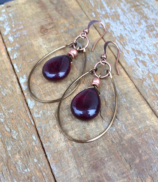 Festive garnet red Czech glass teardrop and antiqued copper hoop earrings