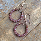 Pink Jade and Copper Hoop Earrings