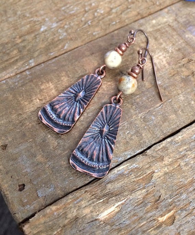 Mexican crazy lace agate stones with rustic, boho, antiques copper dangles.